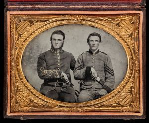 """'Captain Charles A. and Sergeant John M. Hawkins, Company E, """"Tom Cobb Infantry,"""" Thirty-eighth Regiment, Georgia Volunteer Infantry,' 1861–62, by an unknown artist. (Photo by Jack Melton/Metropolitan Museum of Art)"""