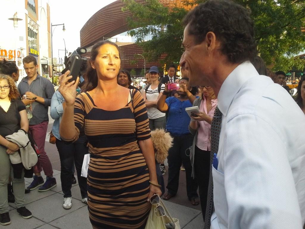 Anthony Weiner confronts an enraged heckler.