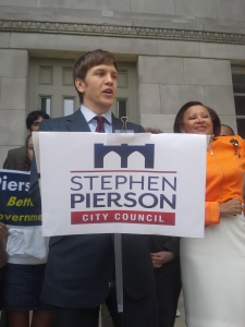Stephen Pierson speaks at his endorsement press conference at Brooklyn Borough Hall.