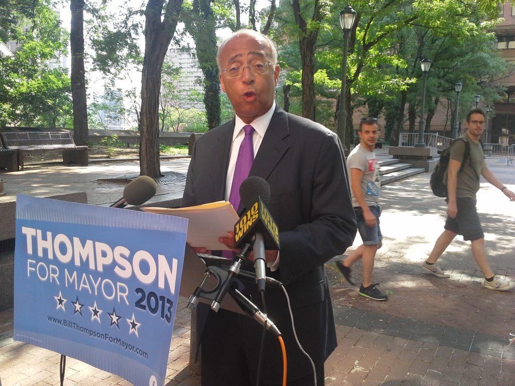 Bill Thompson at One Police Plaza this morning.