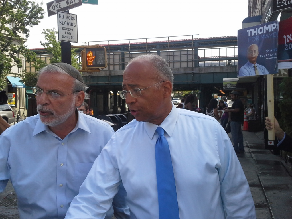 Bill Thompson and Dov Hikind today.