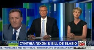 Bill de Blasio and Cynthia Nixon on Piers Morgan Live last night