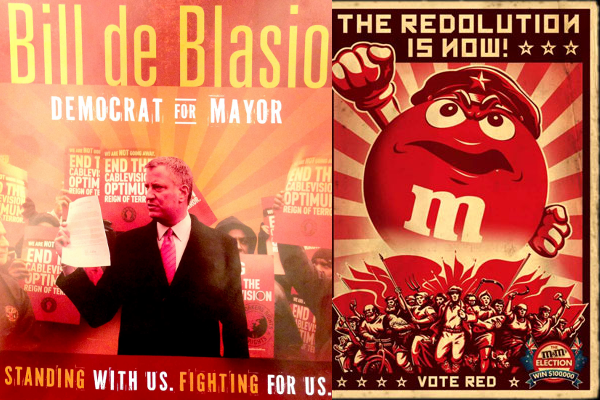 Bill de Blasio and an empowered Red M&M. (Photos: CWA mailer and youthedesigner.com)