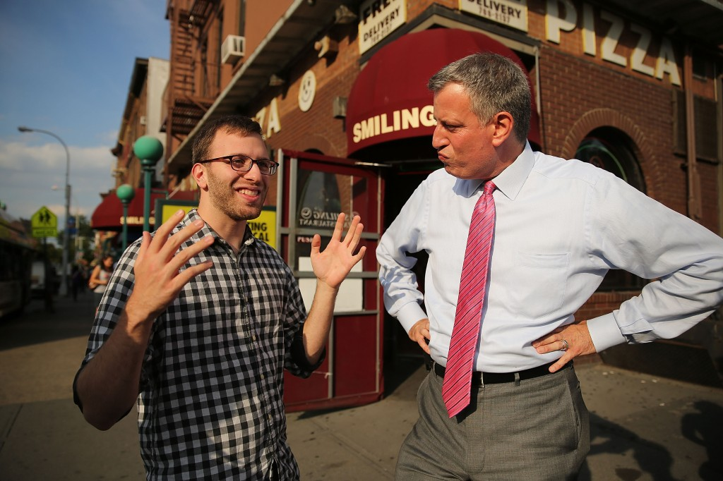 Bill de Blasio in Park Slope. (Photo: Getty)