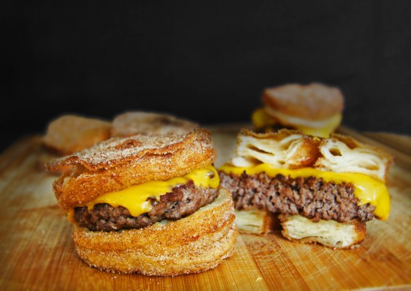 This is what a cronut burger looks like. And you might not want to eat it. (Le Dolci)