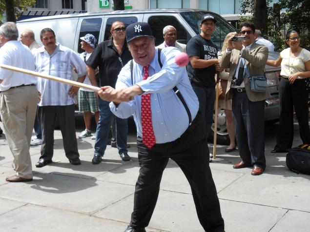 John Catsimatidis playing stickball during the 2013 mayoral race. (Photo: Ross Barkan)
