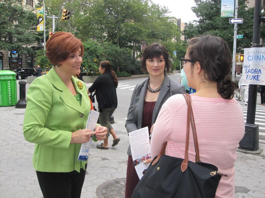 Christine Quinn and Sandra Fluke greeting voters on the Upper West Side this morning.