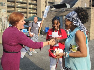 Ms Quinn campaigning this weekend in the Bronx.