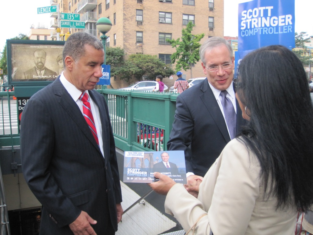 Former Gov. David Paterson campaigns with Scott Stringer in Harlem this morning.