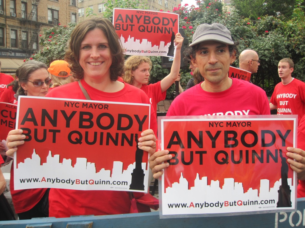 Anti-Quinn activists at this evening's rally.