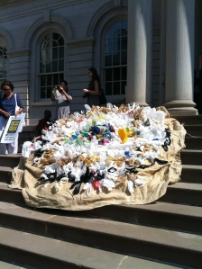 An art piece representing plastic bag usage.