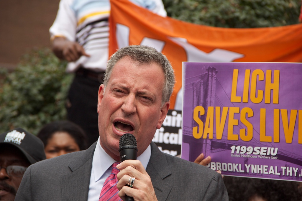 Mr. de Blasio talking about the closure of St. Vincent's hospital. (Photo: Gideon Resnick)