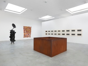 Installation view of 'Roving Signs' at Matthew Marks Gallery, with works by Harrison, Tompkins, Judd and Smith. (Courtesy Matthew Marks Gallery)