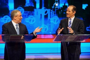 Stringer and Spitzer sparring in the first comptroller debate.