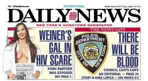 Two stories on today's Daily News cover. (Photo: Newseum)