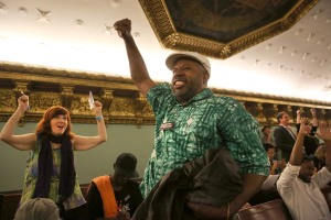 Stop-and-frisk critics celebrate after the City Council voted to override vetoes. (Photo: Getty)