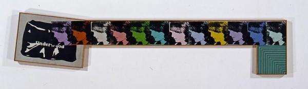 "'Duchamp ""Pliant de Voyage. 1917""; Warhol, Andy ""Jackie, 1964"" (twelve times); and Stella, Frank ""Hampton Roads"", 1961' (1969) by Pettibone. (Courtesy the artist and David Nolan Gallery)"