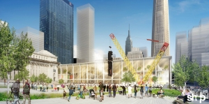 SHoP's rendering for a new Penn Station features Jeff Koons's Train crash sculpture.