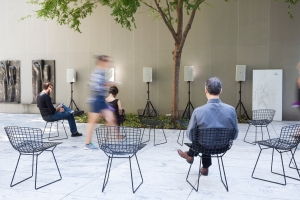 Installation view of Stephen Vitiello, 'A Bell for Every Minute' (2010) in the museum's sculpture garden. (Photo by Jonathan Muzikar/MoMA)