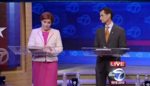 Christine Quinn and Anthony Weiner at tonight's debate.