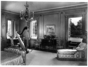 Ms. Clark's mother's bedroom at her Santa Barbara estate, with a view of the Pacific, features an ornate pedal harps. Karl Obert, from the book Empty Mansions.