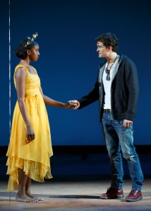 Condola Rashad and Orlando Bloom in 'Romeo and Juliet.' (Photo by Caroll Rosegg)