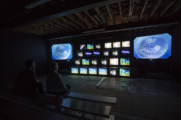 Installation view of Gretchen Bender, 'Total Recall,' 1987, at the Poor Farm. (Courtesy the Poor Farm/The Kitchen)