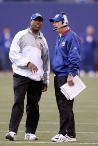 Ronnie Barnes with Giants head coach Tom Coughlin.