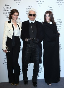 Roitfeld, right, with good friend Karl Lagerfeld, center, and Laetitia Casta.