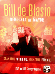 Some observers said  this union mailer for Bill de Blasio reminded then of old socialist propaganda images.