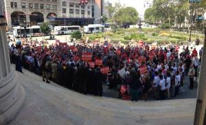 Today's sizable crowd. (Photo: Twitter/@MonicaCKlein)