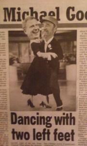 Today's New York Post depicts Bill de Blasio dancing with Fidel Castr.