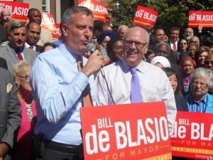 Bill de Blasio today with Congressman Joe Crowley.