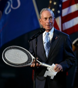 Mayor Bloomberg holds a racket. (Photo: Getty)