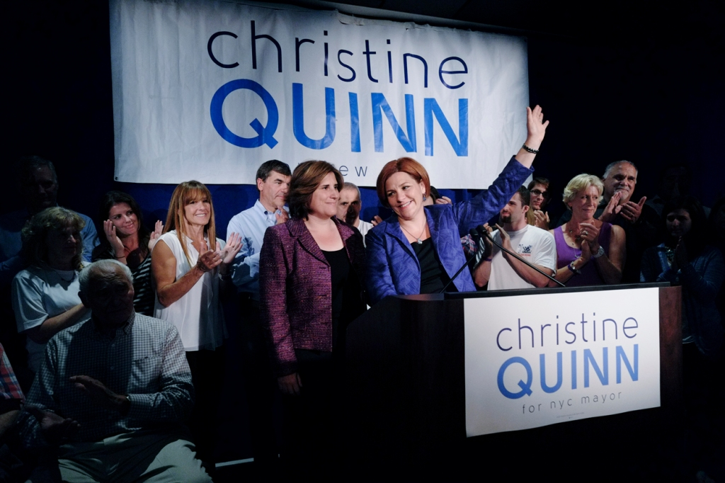 Christine Quinn concedes defeat at Chelsea watch party.