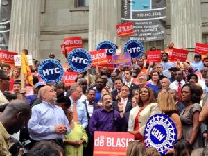 Bill de Blasio at his rally today. (Photo: Twitter/deBlasioNYC)
