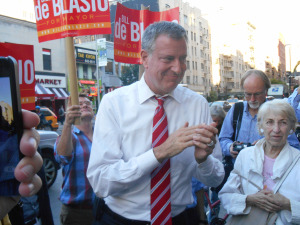 Bill de Blasio in Chelsea on Friday.