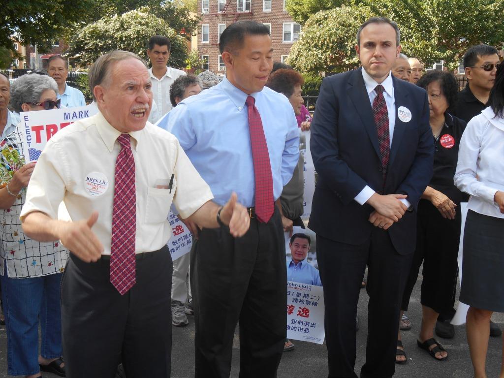 Assemblyman Bill Colton, John Liu and Mark Treyger yesterday.