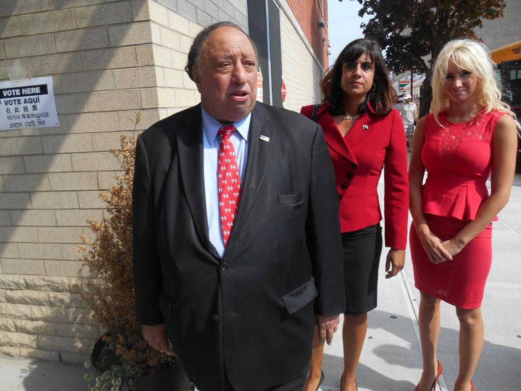 John Catimatidis today with Assemblywoman Nicole Malliotakis and his daughter.