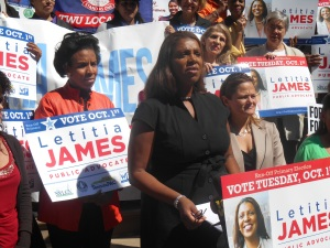 Councilwoman Tish James at City Hall today.