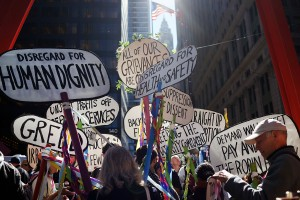 Protesters commemorated the second anniversary of Occupy Wall Street on September 17, 2013. (Photo by: Spencer Platt/Getty Images)