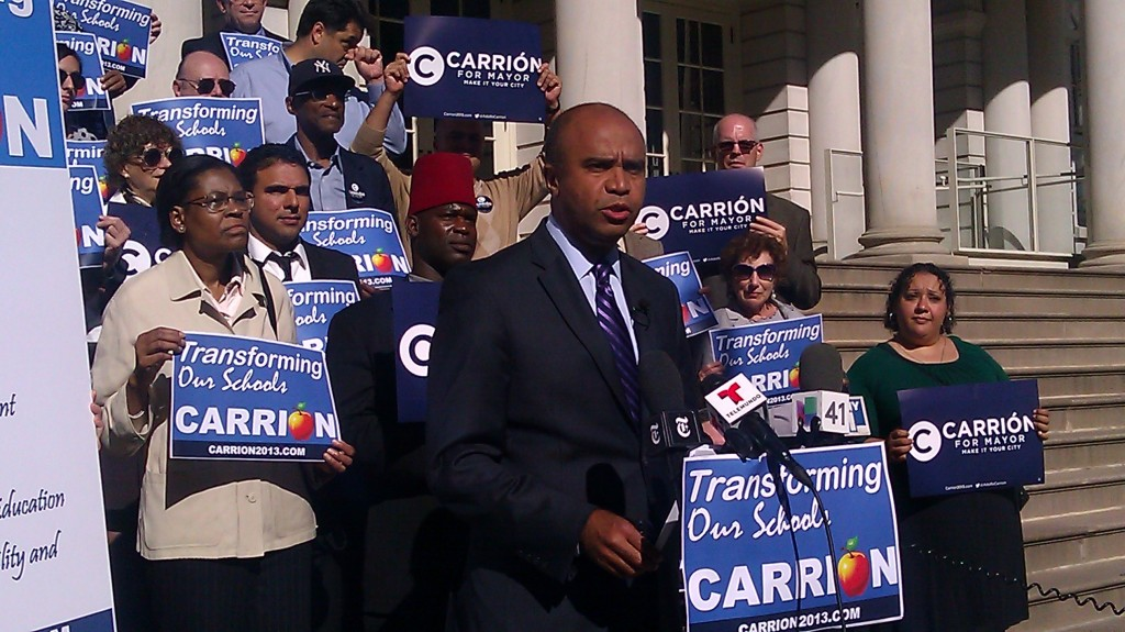 Mr. Carrión speaks during an press conference at City Hall today.