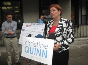 Christine Quinn at today's press conference.