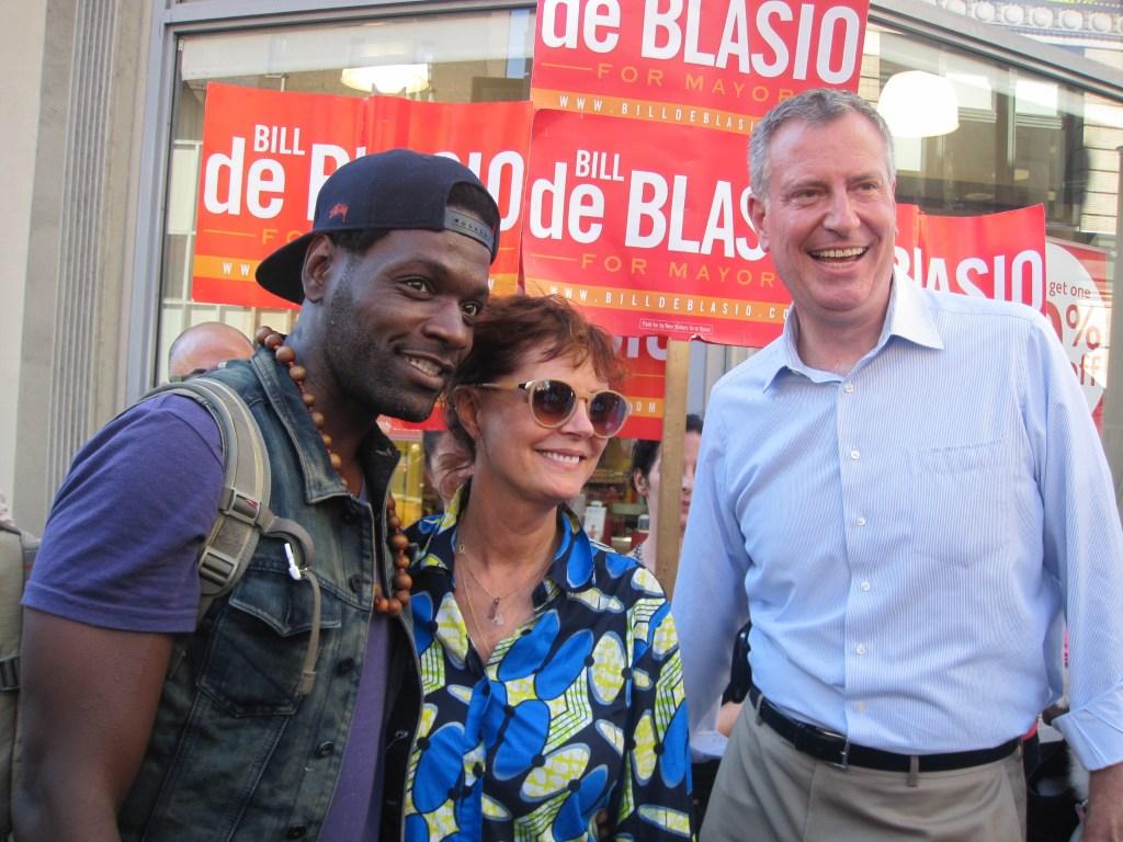 Bill de Blasio and Susan Sarandon in Chelsea.