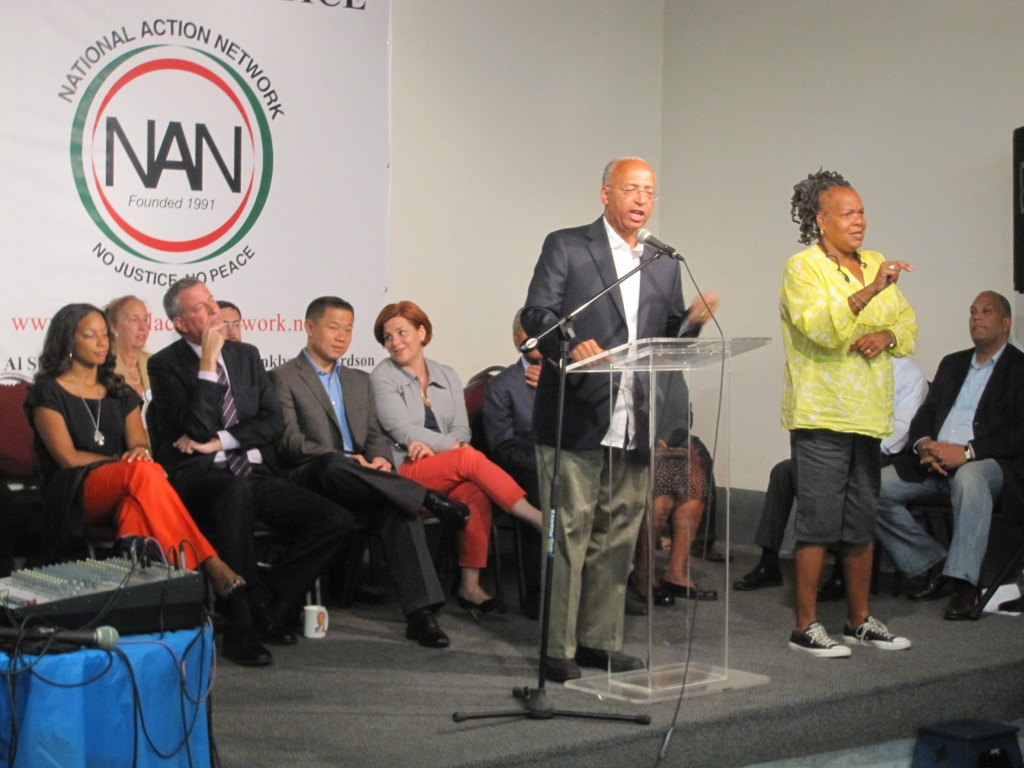 Bill Thompson at the National Action Network this morning.