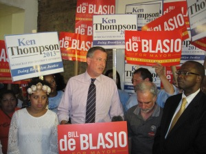The de Blasio family and campaign supporters rallying this afternoon.