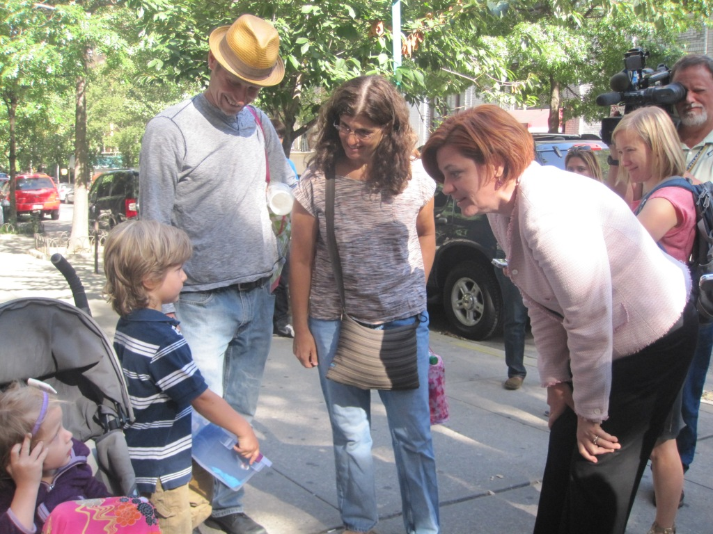 Christine Quinn courting voters on the Upper West Side.