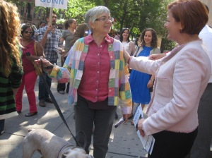 Christine Quinn greets a fan on the Upper West Side.