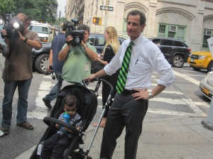 Anthony Weiner and his son after voting.