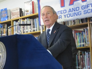 Mayor Bloomberg wanted to talk schools, not election, at a press conference today in East Harlem.